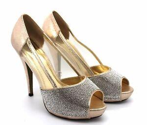 0dd308cd5f2 Quiz Womens UK 7 Gold Shimmer Diamante Mesh Platform High Heel Shoes ...