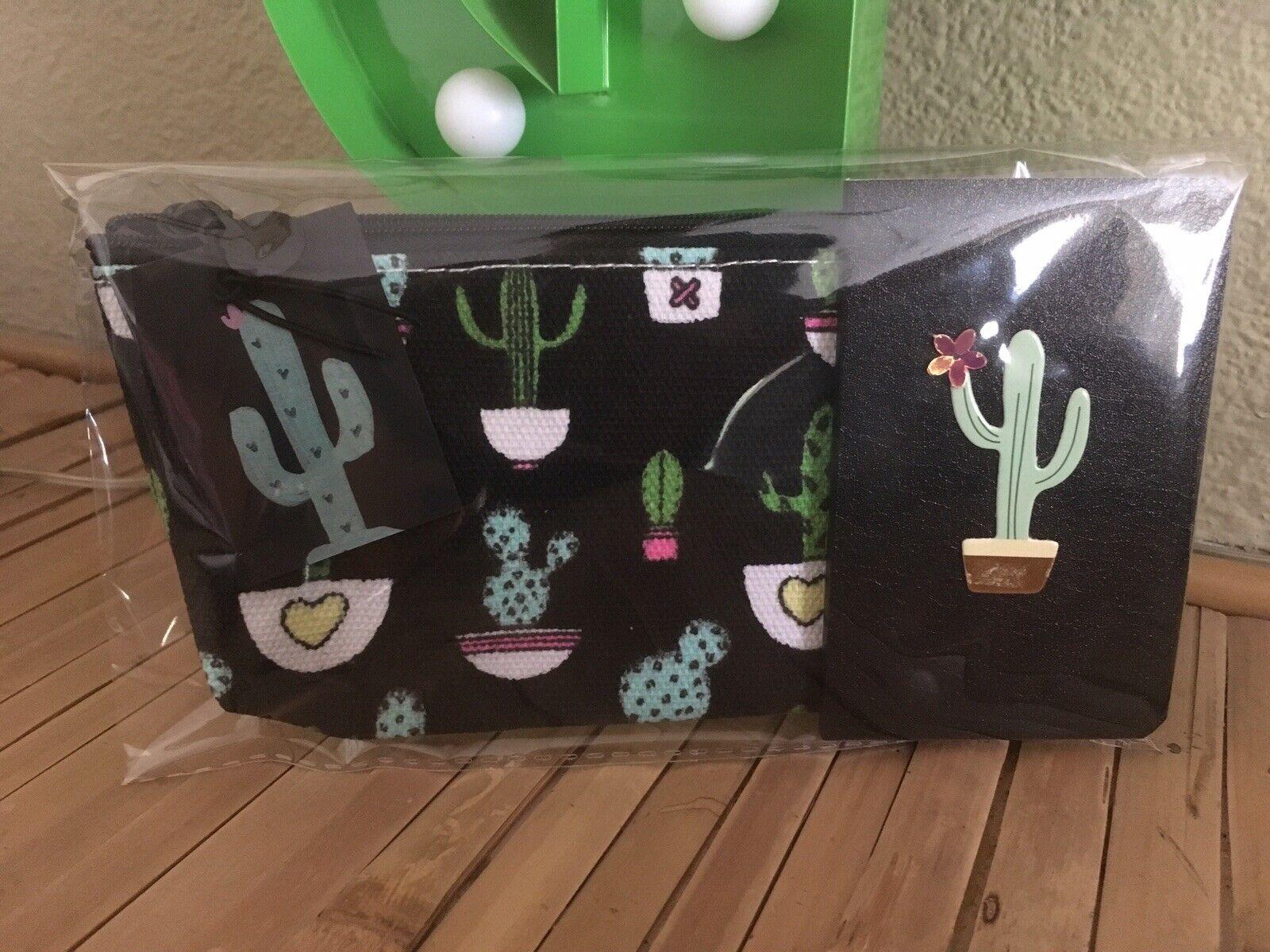 Retro Black Canvas Cactus 🌵Cosmetic Bag +3D Pocket Notebook 2 Piece Gift Set