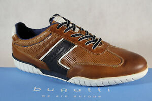 Bugatti-Sneakers-Low-Shoes-Trainers-Slippers-Braun-Leather-70801-New