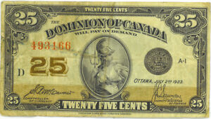 Dominion-of-Canada-1923-25-Cents-Shinplaster-McCavour-Saunders-Fine
