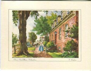 VINTAGE-VIRGINIA-WOMAN-HORSE-COACH-BLAIR-039-S-BRICK-HOME-PRINT-1-KITCHEN-TEA-CARD