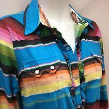 M L TashaPolizzi Womans Western Shirt Dress Bright Serape Stripe Longsleeve Snap