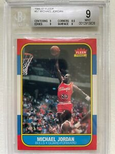 1986 Fleer Basketball #57 Michael Jordan Rookie Graded BGS 9 Mint!