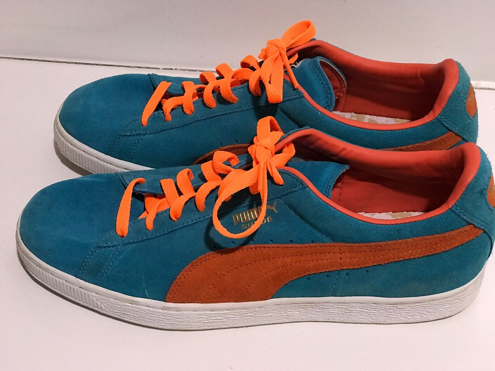 Puma Leather Suede Miami colors  orange And Teal Sport Lifestyle shoes 10.5