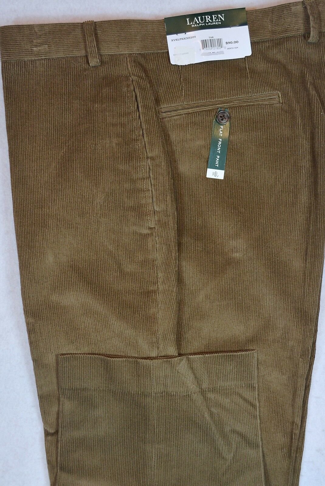 LAUREN Ralph Lauren Corduroy Flat Front Tan Dress Cords Pants 38 32 NWT