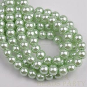 50pcs-8mm-Pearl-Round-Glass-Loose-Spacer-Beads-Jewelry-Making-Light-Green