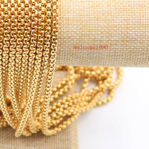 """16/""""-32/"""" 3mm Gold Plated Stainless Steel Square Rolo Chain Necklace Trendy Gifts"""