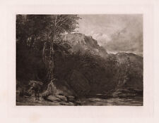 """Stunning 1800s GEORGE COX Antique Etching """"Prayer House in the Woods"""" SIGNED COA"""