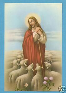 VINTAGE-Catholic-Large-holy-card-JESUS-GOOD-SHEPHERD-Postcard-size