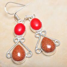 """Handmade Sun Sitara Sparkling Jasper 925 Sterling Silver 2.25"""" Earrings #E00137"""