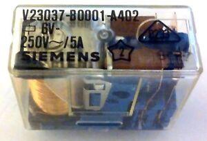 Siemens 6V Coil 250V AC 5A Normally Open SPDT Relay V23037B0001