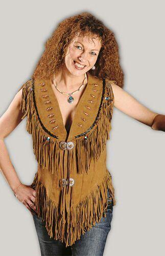 damen Sleeveles Suede Leather Fringe Native American Western Style Cowboy Jacket