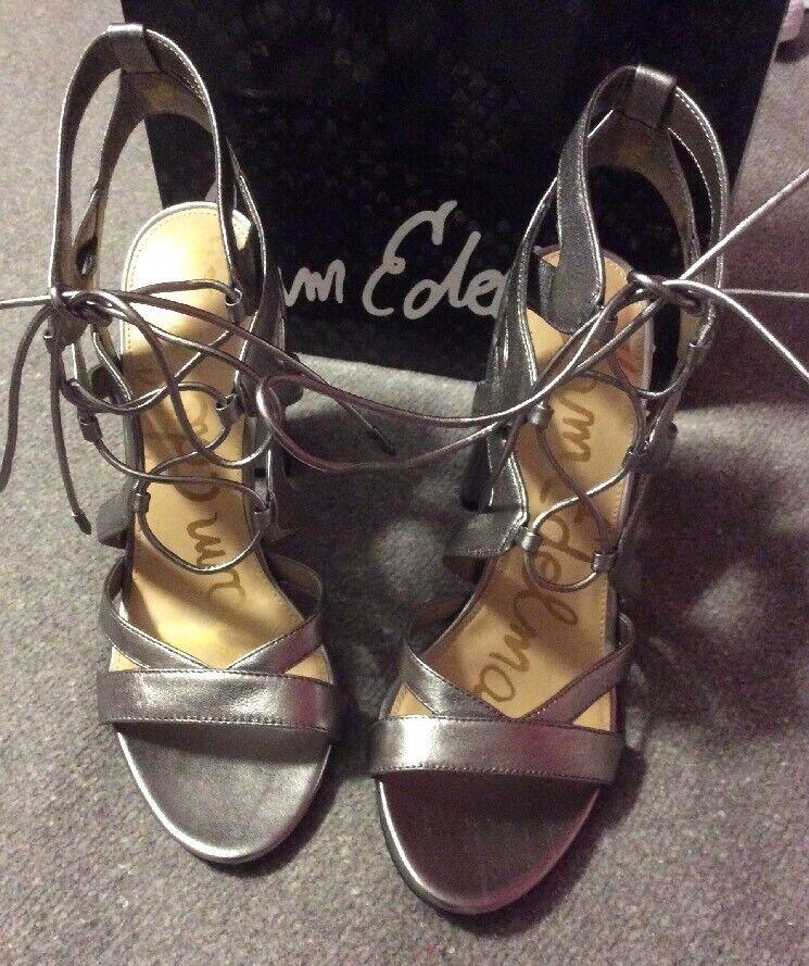 Sam Edelman Yardley Sz 10 Metallic Silver Leder Strappy Sandaleen Heels Schuhes
