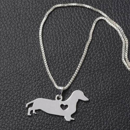 1 Pc Silver Puppy Pendant Box Chain Lovely Dachshund Dog Unisex Necklace Charm