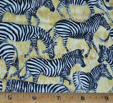 Safari Zebra Fabric Fat Quarter Cotton Makower UK Jungle Animals Wildlife