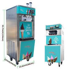 3 Nozzles Soft Ice Cream Machine Mixesd Colors Ice Cream Cones 110v