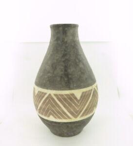 German-Pottery-Vase-Mottled-Texture-Charcoal-Glaze-amp-Geometric-Chevron-Pattern