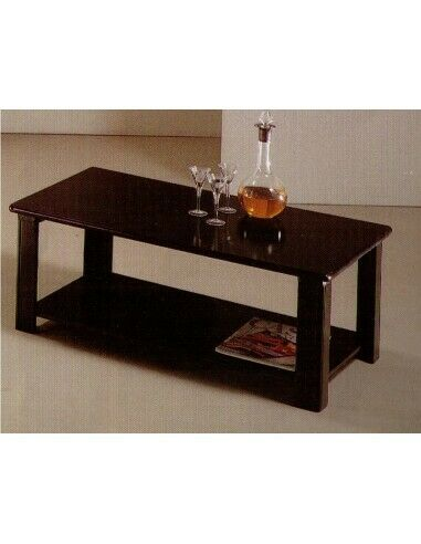 Coffee Table Modern Rectangular in Lacquered Wood Matte Black