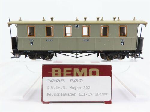 HOe Gauge Bemo 3008 802 K.W.St.E 3rd /& 4th Class #322 European Passenger Car