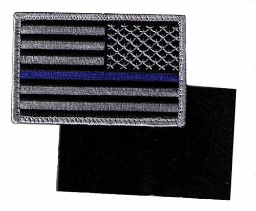 "HOOK//LOOP US flag 3.5/"" stars right black//gray blue line police patch CYNDY-V-CSP"