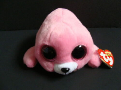 """NWT TY Beanie Boos 6"""" PIERRE Seal Pink Plush Boo Glitter Sparkly Eyes 2016 NEW"""
