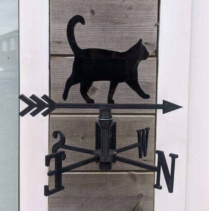 Walking Cat Acrylic Garden Weather Vane Wall, Pole or Post Mounted