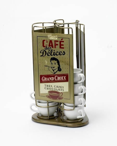 French Inspirot Cafe Cup Holder - Cups Not Included