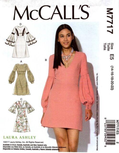 McCalls Sewing Pattern 7717 M7717 Misses Dress Laura Ashley Size 6 ...