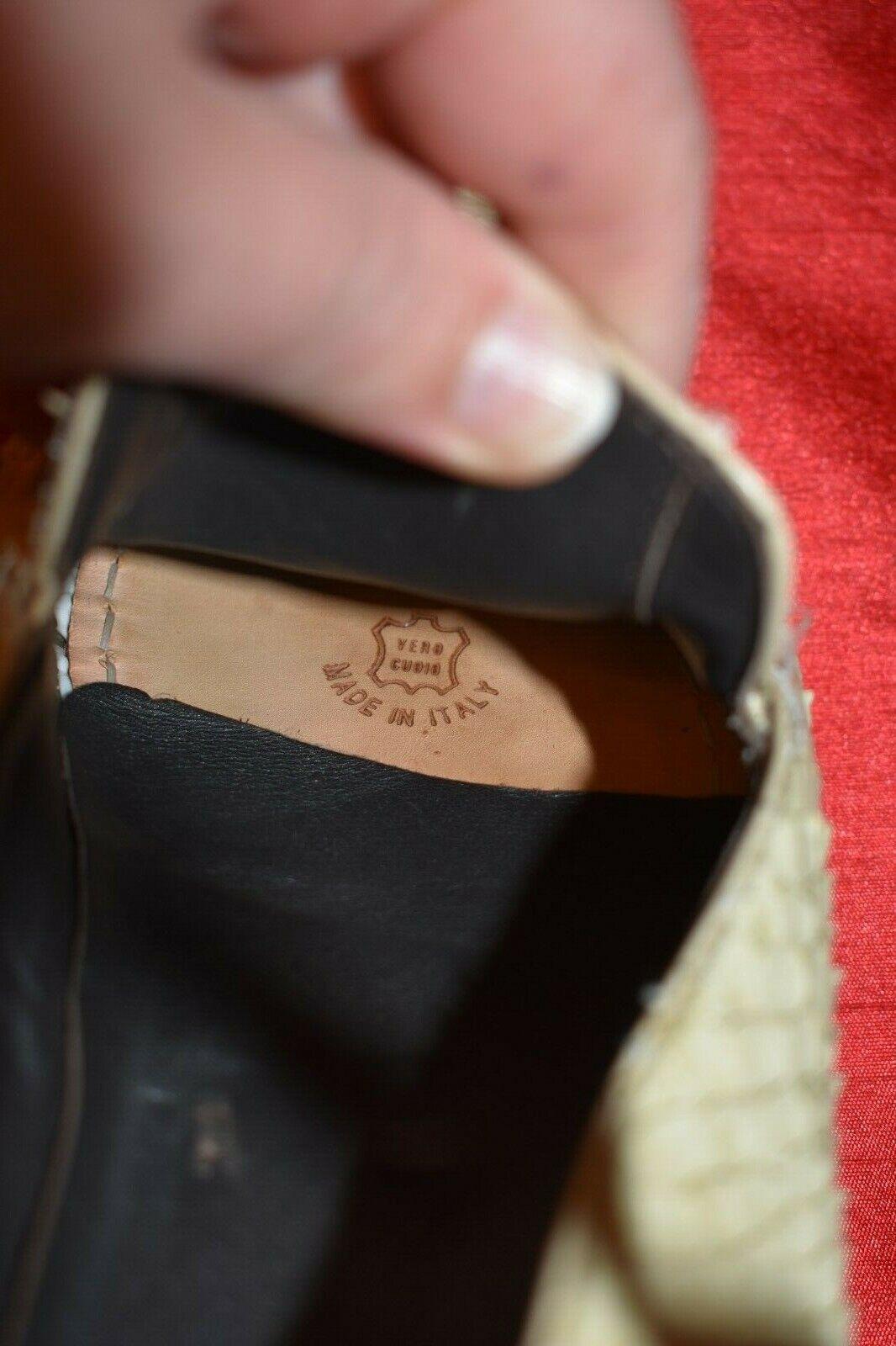 Hugo Boss Mens Cream Snake Skin Leather Leather Leather Slip On Penny Loafers schuhe Sz 6 b32e43
