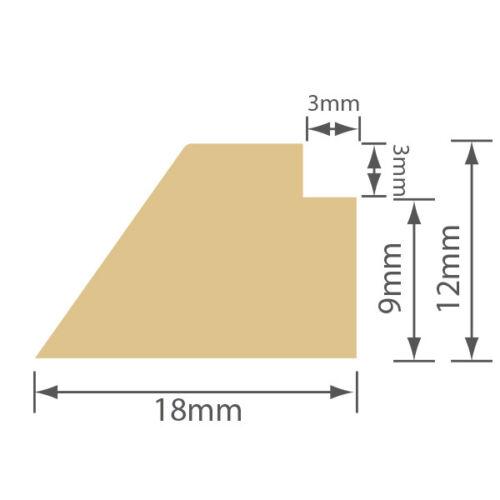 Vitre Vitrage Bead 18 x 12 PVC et bois composite blanc