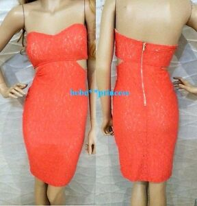 37f2246a43c9 NWT bebe coral pink overlay lace strapless side cutout midi top ...