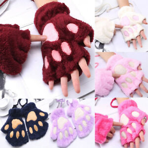 Femmes-Filles-Chat-Mignon-Pince-Paw-Peluche-Mitaines-Hiver-Chaud-Court-Mitaines