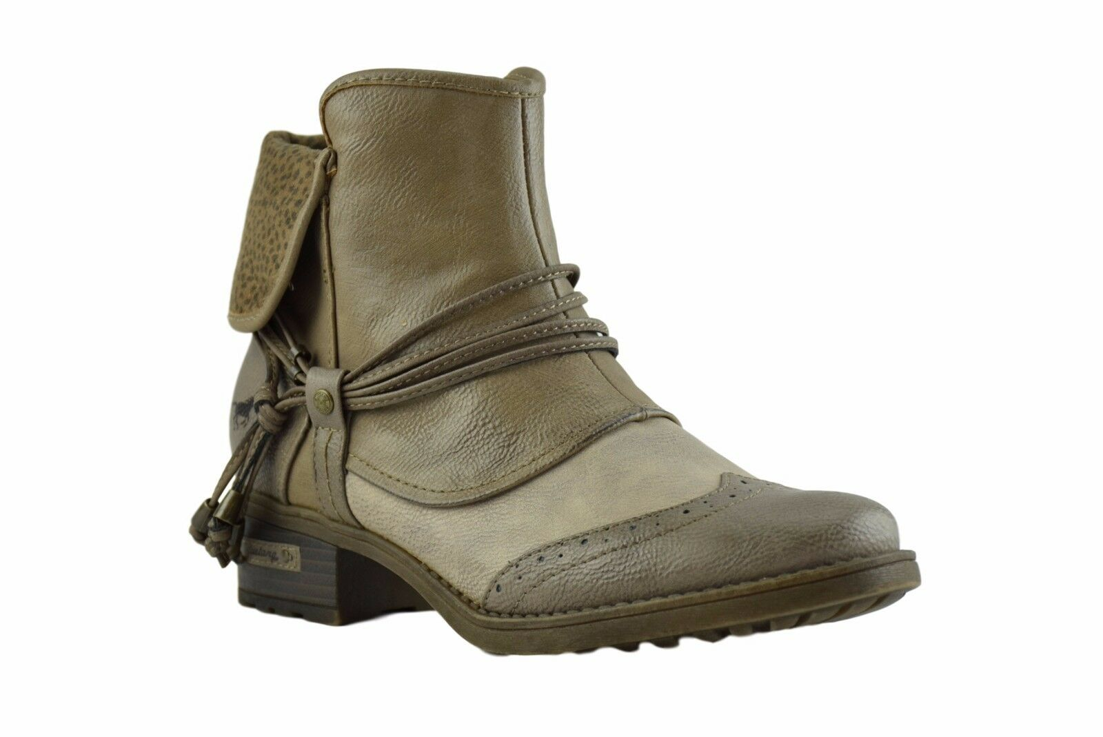 Mustang New Ladies Light Ivory Grey Vegan Leather Biker Ankle Zip Heel Boots