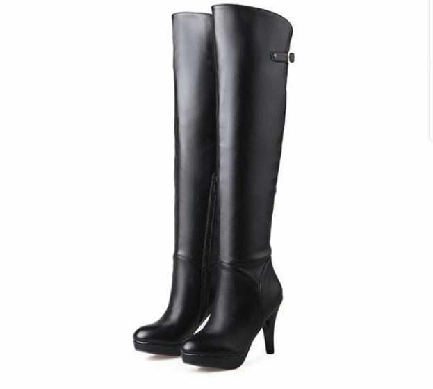 botas muslo mujer tacón alto cm 10 cm alto negro cómodo caldi como piel 9404 3bb92e