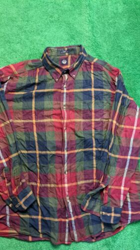 Dockers Long Sleeve Button Up 2XL Plaid Flannel Vi