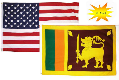 2 Pack USA American /& Sri Lanka Country Flag Banner 2x3 2/'x3' Wholesale Set