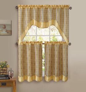 2 Tiers 1 Valance w// Chocolate Alligator Print Taupe 3 Pc Window Curtain Set