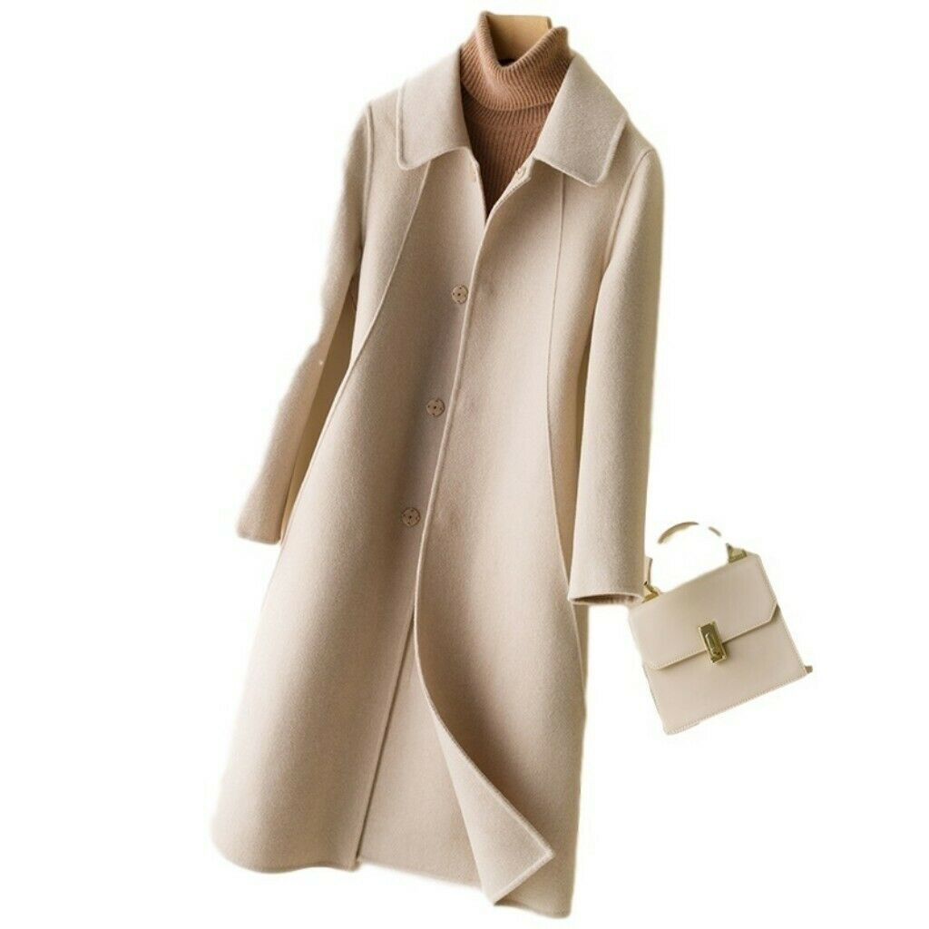 Women Cashmere Wool Blend Overcoat Wram Single-breasted Midi Trench Coat Lapel L