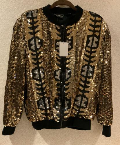 NWT Vintage Jewel Queen Sequin Bomber Jacket Gold