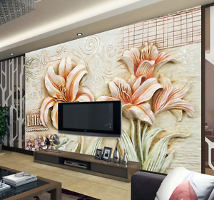 3D Lily Flowers Embossed Paper Wall Print Wall Decal Wall Deco Indoor Murals