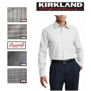 SALE-KIRKLAND-Men-039-s-Tailored-Fit-Dress-Shirt-Long-Sleeve-VARIETY-Size-amp-Color