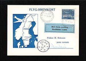 Sweden Air Letter Card Tied Etiquette 1944 Stockholm Luftpost Lulea Flight 1v