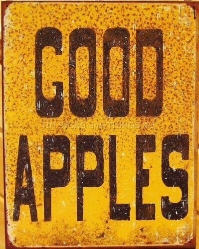 Good Apples TIN SIGN orchard sale barn metal vtg rustic home wall decor ad 1600