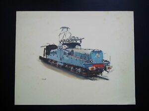 Rare illustration signée grand format locomotive CC  Albert BRENET 1955 SNCF