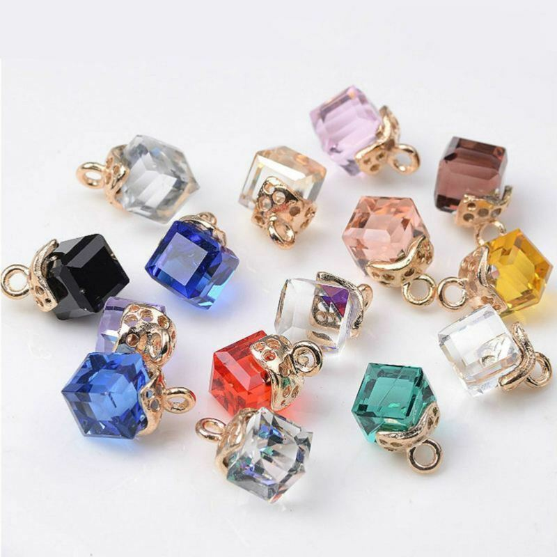 20pcs Cubic Crystal Pendants Decoration for Necklace Bracelet Jewelry Making DIY