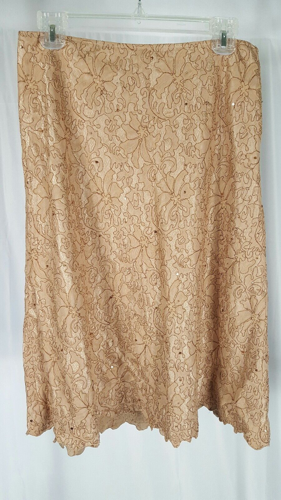 Lafayette 148 New York Lace Beaded A- Line Skirt Size 8 gold Tan Brown