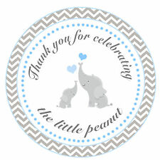 40 Thank You Label Stickers Elephant Baby Boy Shower Party Favor Blue Grey A1