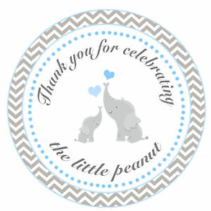 40 Thank You Label Stickers Elephant Baby Boy Shower Party