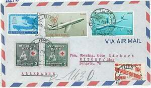 RED-CROSS-EDUCATION-MAPS-AIRPLANES-POSTAL-HISTORY-COVER-HAITI-1962