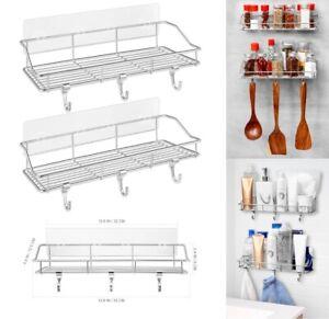 2-Pack-Kitchen-Rack-Storage-Organizer-Holder-Bathroom-Wall-Mount-Shelf-W-Hooks